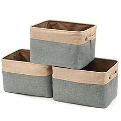 EZOWare Storage Bins Organizer, Set of 3 Foldable Collapsible Large Cube Fabric Linen Canvas Storage Baskets for Shelves Cubby Laundry Playroom Closet Clothes Shoe Baby Toy with Handles (Brown/Gray) Large Storage Bins, Collapsible Storage Bins, Toy Storage Boxes, Storage Ideas, Storage Cubes, Storage Spaces, Playroom Closet, Home Office Closet, Baskets For Shelves