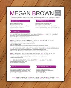 Custom Resume Template Color Circle Initials By Rbdesign On Etsy