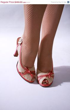 Vintage 1940s Shoes  Coral Leather and by FabGabs