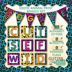 Exotic Animal Print Boggle Bulletin Board Pack by Glitter Meets Glue Designs - This is all you need to quickly get your Boggle game set up in your classroom. Perfect for teachers who already have solutions to the puzzle but need a nicer way to display it. Included are large alphabet letters, flag bunting that spells out BOGGLE, and bordette. #literacy