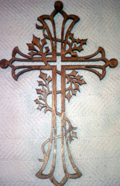Scroll saw wooden ivy cross - I made 5 of these for a church family visiting our church, be sure to wrap in something safe as they break way to easy, no matter the density of the wood