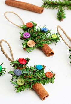 Nothing can beat homemade Christmas Ornaments & Christmas Crafts. Here are easy DIY Christmas Ornaments to make your Christmas Decorations feel personal. Stick Christmas Tree, Easy Christmas Ornaments, Noel Christmas, Christmas Crafts For Kids, Homemade Christmas, Simple Christmas, Christmas Projects, Holiday Crafts, Christmas Decorations