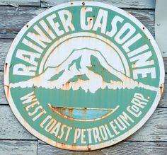 Found signage for Rainier gasoline Old Gas Pumps, Vintage Gas Pumps, Web Design, Logo Design, Graphic Design, Vintage Advertising Signs, Vintage Advertisements, Vintage Metal Signs, Logo Vintage