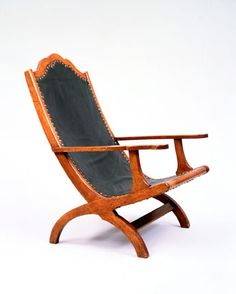 Thomas Jefferson's Campeche Chair. Mahogany with a Leather Seat & Back. New Orleans, Louisiana. Circa 1807-1819. Ordered by Jefferson for Monticello. Charlottesville, Virginia.