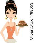 Royalty Free RF Clipart Illustration Of A Gorgeous Brunette Woman Holding A Tiered Birthday Cake In Hand by Melisende Vector
