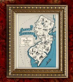 Personalized NEW JERSEY Map Print Vintage Map by EncorePrints, $12.00