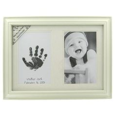 This adorable baby keepsake frame comes with an inkpad for creating handprints or footprints of your baby. | Shop Hobby Lobby
