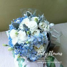 ช่อไฮเดรนเยียผสมกุหลาบขาว และดอกไลเซนทัส Hanukkah, Wreaths, Flowers, Home Decor, Decoration Home, Door Wreaths, Room Decor, Deco Mesh Wreaths, Royal Icing Flowers