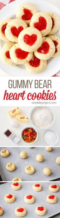 These gummy bear heart cookies are SO DELICIOUS! They're rich and buttery with a soft and sweet center and a simple shortbread base. Such an adorable cookie for Valentine's Day!