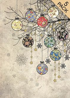 Bauble Branches Five Pack - Bug Art greeting card