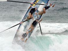 Heavy seas cause chaos with surf boats at the Australian Surf Lifesaving Championships at Kurrawa. Long Reef Reserve Boat crew.