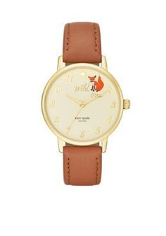 kate spade new york Womens Metro Wild One Brown Leather Watch
