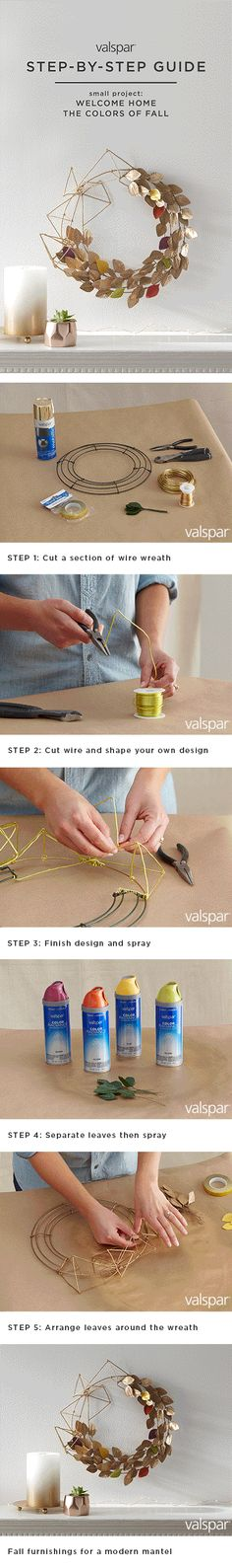 If you're looking for a touch of trendy, this faux fall DIY small project wreath will give you the modern mantel piece you've always wanted. Follow our simple steps so you can welcome home the colors of fall with Valspar Spray Paint. Check out the full step-by-step guide here: https://www.pinterest.com/valsparpaint/fall-diy-wreath/