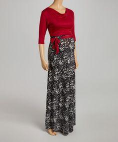 Look at this #zulilyfind! Burgundy & Black Maternity Maxi Dress #zulilyfinds