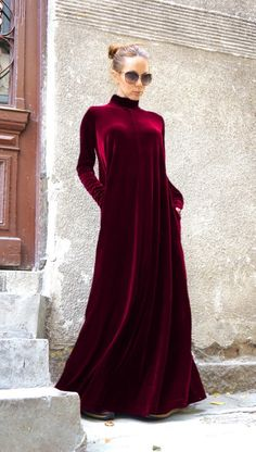 Nuevo Maxi terciopelo profunda Borgoña vestido Kaftan de gasa