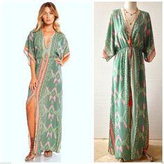 Elan Boho Santa FE Sexy Aztec Kaftan Maxi Dress Deep V Front Slit Boho Printed   eBay