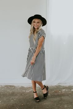 Striped bib dress with hidden zippers for breastfeeding moms | ROOLEE Mom