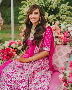 Best Bridal Hairstyles Spotted In 2020 - ShaadiWish Messy Braided Hairstyles, Classy Hairstyles, Trending Hairstyles, Bride Hairstyles, Pink Lehenga, Bridal Lehenga, Wedding Looks, Bridal Looks, Mehendi Outfits