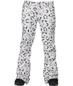 Burton TWC Miss Wilds Snowboard Pants Stout White Snow Leopard Print - Womens 2015. FREE shipping over $50.