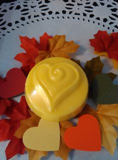 24 Fall wedding heart favors in yellow.  by HeartWarmerCandles