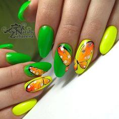 Make an original manicure for Valentine's Day - My Nails Green Nail Designs, Nail Art Designs, Perfect Nails, Gorgeous Nails, Neon Nails, My Nails, Cute Nails, Pretty Nails, Long Round Nails