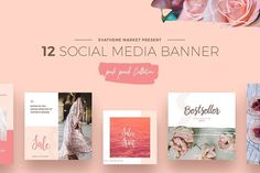 Ad: Social Media Banners $15 Pink Peach Social Media Designs by Evatheme on @creativemarket