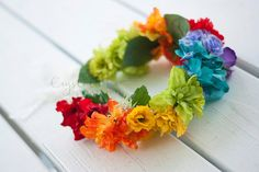 Rainbow Flower Crown by CrystalMaeCreations on Etsy