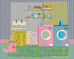 "Laundry Room, 10""x8"" - Love this girl's prints.  Maia Ferrell @ etsy"