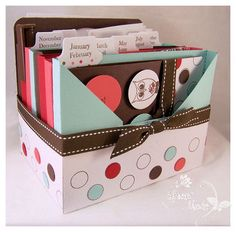 re-create with SU envelope punch board. cute way to store cards for the year. Or recipe box. Birthday Organizer, Envelope Punch Board Projects, Envelope Maker, Card Storage, Craft Box, Card Tutorials, Homemade Cards, Stampin Up Cards, Mini Albums