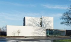 Facade white and gray. Minimalist Office Building in Belgium, Delta by DE JAEGHERE