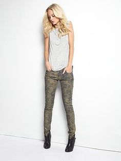 Floral print jeans. These are different though because they have a glimmering metallic finish.