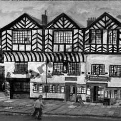 Ye Old King's Head  Daytime, B&W by Jill Pears, using a different take on my original painting