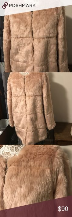 Missy Pink faux fur Jacket This beautiful chic jacket can be yours with just the right jeans or a night out, dress me up or dress me down , you will love me, very soft and  washable, size large never wear Metaphor Jackets & Coats Utility Jackets