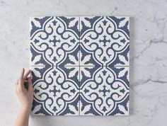 Alexandria Navy Blue Encaustic Look Tile - Modern Navy Blue Bathrooms, Navy Bathroom, White Bathroom Tiles, Bathroom Floor Tiles, Bathroom Ideas, Downstairs Bathroom, Bathroom Inspo, Bathroom Renos, Modern Bathroom