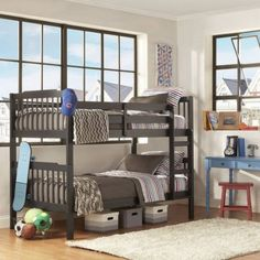 """Elise Youth Bunk Bed, Vulcan $250 - Walmart """"The gap between the side rails is 27 inches. Bed supports sits 2 inches from top of the side rail. It makes it total 29 inches. With 8 inch mattress you would be left with 23 inches gap."""""""