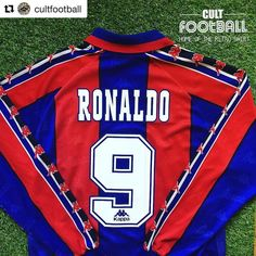 1996-97 Barcelona home shirt LS Ronaldo #9 - zinger of a shirt from @cultfootball  get yours #Barcelona #barca #ronaldo #fenom #footballshirtcollective