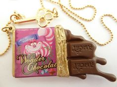 Alice In Wonderland Necklace Chocolate bar with gold by shimrita, $18.99