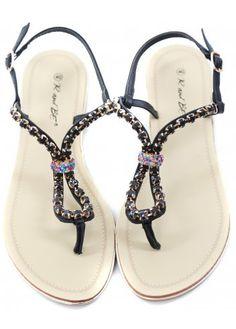 1ffd408f0281ce Designer Desirables Large Crystal Black Toe Post Flat Sandals Black Toe