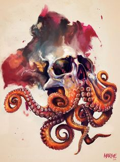 Octopus tattoo is a favorite marine life tattoo design for both women and men. Today, the octopus tattoo is a favorite decorative tattoo. Not only con. Octopus Tattoos, Octopus Art, Skull Tattoos, Cool Tattoos, Octopus Drawing, Octopus Sketch, Tatoos, Dragon Tattoos, Totenkopf Tattoos
