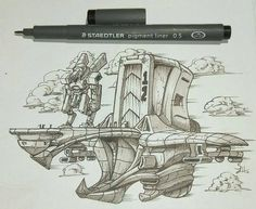 An #airship #penandink #drawing from Simon Hernandez (@szh_design) of an inventive mech transport ship that appears to also double as a means of storage for the massive humanoid-shaped vehicle. The rear part of the ship LOOKS like it would function as a garage of sorts perhaps for a place to make repairs or keep the mech shielded from sand storms or something.  I really like the design of the ship itself. The mix of sharp angles in some areas and gentle aerodynamic curves in others is…