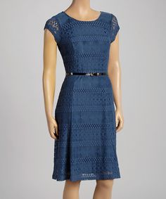 Look at this Sharagano Antique Blue Belted Lace Cap-Sleeve Dress on #zulily today!