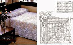 colchacroche1 Crochet Art, Crochet Doilies, Crochet Patterns, Crochet Bedspread, Crochet Afghans, Bed Covers, Bed Spreads, Bed Sheets, Mattress