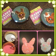 Easter Pancakes~ Mix pancake batter w/ a few drops of food coloring. Pour into a bunny shape and add sprinkles.
