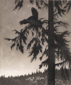 Theodor Kittelsen, Illustrasjon til Svartedauen, Kristiania 1900. Mellom 1894 og 1896