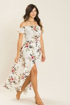 fb6800c0f3 Shop the Kelsey White Floral Maxi Jumpsuit - boutique clothing featuring  fresh