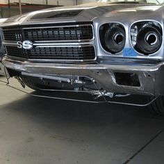 East Bay Muscle Cars Miguel's front bumper modifications on his 70 Chevelle is coming along nicely custom spoiler ground effects chin