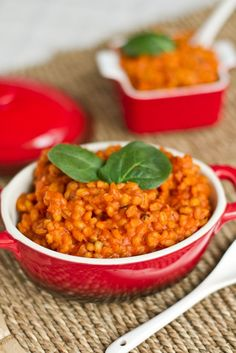 Must try this quick and easy creamy tomato barley risotto. A great healthy comfort food!