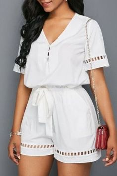 Sexy Jumpsuits and Rompers For Club, Evening Cocktail Party Cute Rompers, Rompers Women, Jumpsuits For Women, Fashion Jumpsuits, White Romper, White Jumpsuit, White Pants, Online Fashion, Plus Size Romper