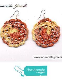 Orecchini Uncinetto - Bigiotteria - 5 cm con strass - salmone - regalo Moda elegante - Handmade - Rotondo - Donna da Annarella Gioielli https://www.amazon.it/dp/B01LXLXKLG/ref=hnd_sw_r_pi_dp_0IO5xbC76G3QG #handmadeatamazon