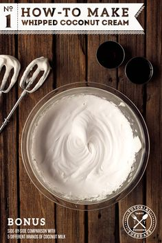 How to Make Whipped Coconut Cream. SO easy! 1 can coconut cream, 1 Tbsp sugar or honey, 1 tsp vanilla. Same texture as real whipped cream with subtle coconut flavor, holds shape well for piping. Comparison of different brands included. Paleo Dessert, Healthy Desserts, Delicious Desserts, Yummy Food, Dinner Dessert, Dessert Recipes, Smoothies Vegan, Whole Food Recipes, Cooking Recipes